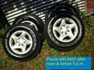 $575, (4) Toyota 6 lug Alloy wheels & tires