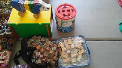 Wood toys and block sets container of 75 $5 small bag of blocks$4 large bag $8 wood toy box size 14 x 9 x9 $2 wood dog $1