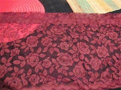 2 long lace burgundy valances and one panel