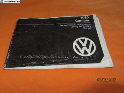 1985 vanagon camper supplement booklet