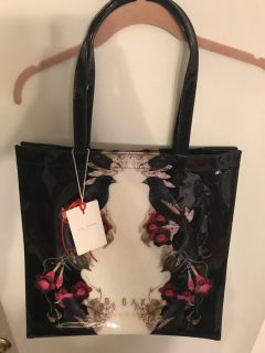 NEW Ted Baker London Shopper Tote Bag w/Birds & Morning Glories NWT