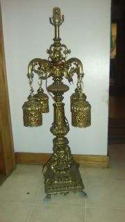 Antique Loveski & Loveski brass table lamp..IMMACULATE CONDITION AND DETAIL