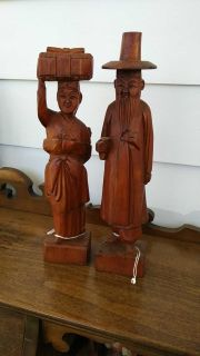 Pair of asian wooden figures