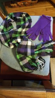 Multi colored scarf and purple gloves