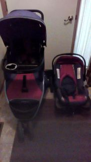 Eddie Bauer Alpine red and gray stroller , car seat , base combination