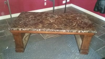 Faux marble top coffee table