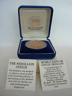 world expo 88 official medallion brisbane australia-prooflike encapsulated