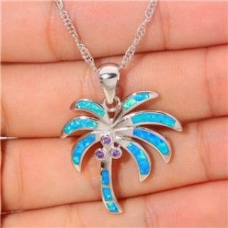 New - Blue Opal and Amethyst Coconut Palm Tree Necklace