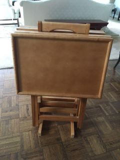 5 Piece Maple Tray Table Set