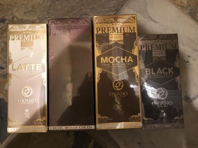 New in package Organo Latte, Hot Coco, Mocha, and Black