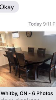 Lovely heavy wooden table and eight chairs. 2 see arm chairs. Has small stain - please see attached photo. Otherwise lovely piece.