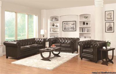 Leather Chesterfield Sofa & Loveseat