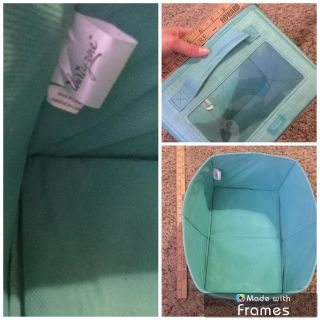 Thirty One Canvas Bin with clear plastic slot on front, minor normal wear from normal use, $3.00