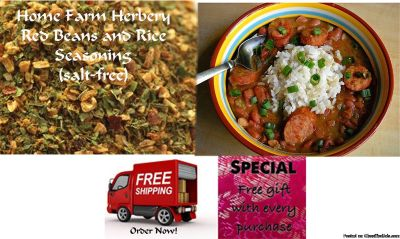Great cooks insist on our Red Beans and Rice Seasoning, Salt Free & Sugar Free, Order now, FREE shipping + a free gift!