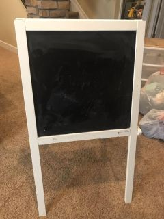 Kids easel with chalkboard on one side, dry erase on the other. Guc