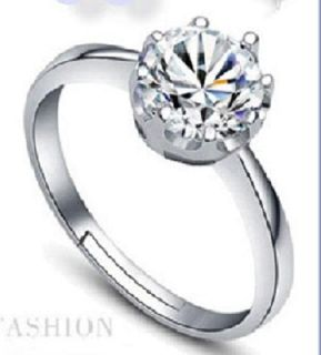 Elegant Silver Zircon Crystal Crown Ring Adjustable Finger Ring/Nail/Toe Ring for Women,Girls: