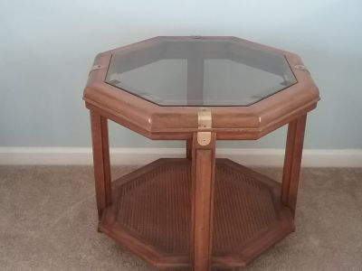 3 wood and smoked glass tables (2 with rattan shelf)