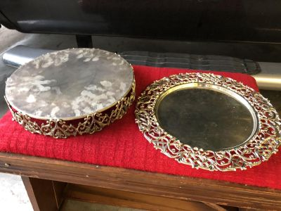 Silver Platter And Cake Stand