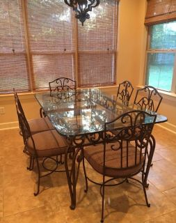 High end kitchen table and chairs heavy metal