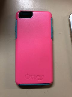 iPhone 6s case. Pink with turquoise trim. Good condition