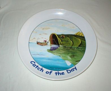 "Large Platter - ""Catch of the Day"" by Gary Patterson 13 1/2"" Diameter"