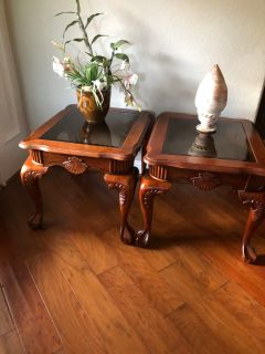 2 cherry wood end tables