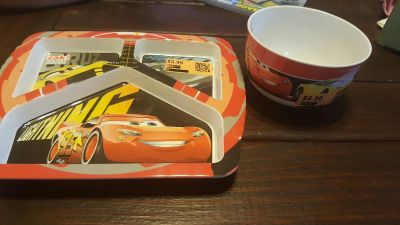 disney cars divider plate and bowl never used