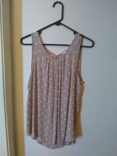Tan and white dressy top, size large