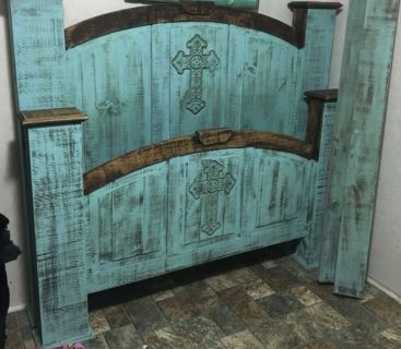 Queen size rustic bed