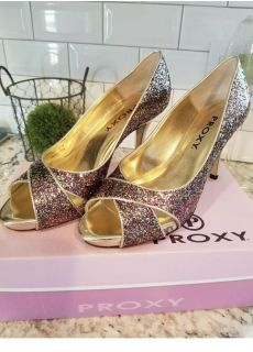 NEW Proxy Women's Dress Shoes Size 9.5 Party Heels and Matching Clutch Glitter