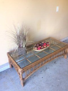 Rattan Glass Top Coffee Table
