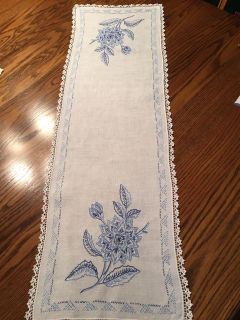 38.5 x 12.5 Vintage Embroidered Dresser Scarf with Crocheted Edging
