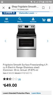 Frigidaire smooth surface electric stove