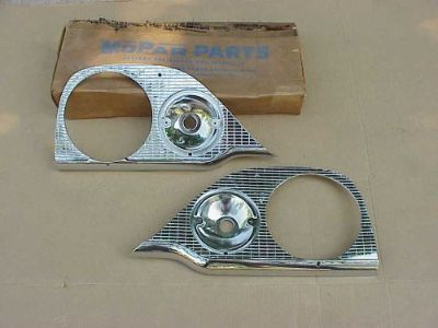 Sell 1957 Dodge NOS MoPar HEAD LAMP BEZEL Pair Coronet Royal Custom Royal Sierra motorcycle in Fairmount, Georgia, United States, for US $695.00
