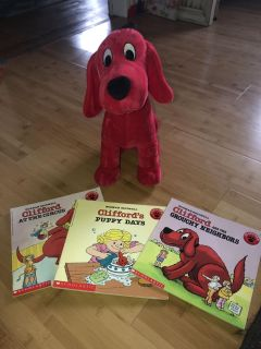Clifford books with plush Clifford