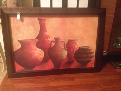 $60, Large vases framed canvas