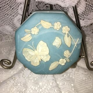 Vintage small Incolay Stone or Soapstone trinket box w/ lid 1970s Blue w/ white swirls White butterfly leaves flowers. Design Gifts Intern'l