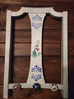 Adorable wall coat/ purse rack made from antique chair.