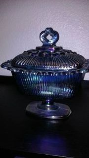 Blue Carnival Glass Candy Dish with Lide