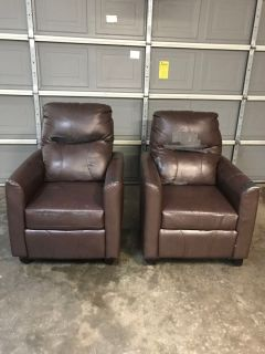 Two Brown Leather Reclining Chairs - Great for Garage Mancave or Covered With Slipcovers