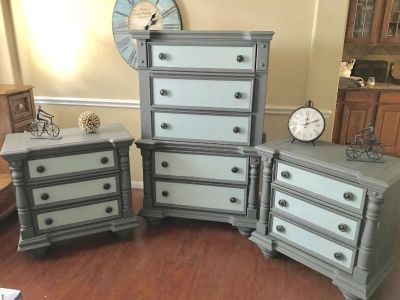 Vintage, solid 2 small dressers and 1 very large chest of drawers