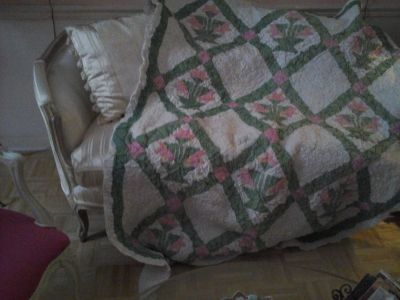 pink and green trapunta quilt