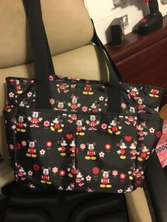 DISNEY MICKEY MINNIE MOUSE DIAPER BAG, CHANGING PAD & SMALL ZIPPERED BAG LOTS OF POCKETS