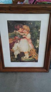 Wood picture frame wall art titled Over the Garden Wall by Frederick Morgan size 21 by 25 $5 porch pick up