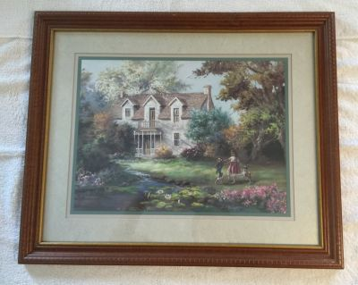 House w/Little Girls Playing Picture