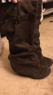 Brown suede wedge boots size 9