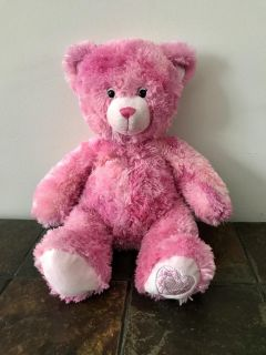 Pink Furry Plush Build a Bear with Silver Sparkle and Pink/Silver Heart on one foot