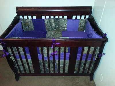 Purple & Realtree Camo Crib Set