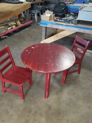Childs table and chairs. Sturdy, needs paint.