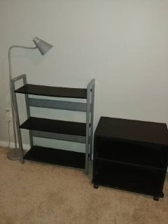 Lamp bookshelf rolling cart